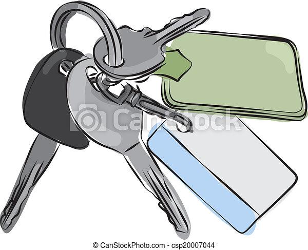 Set of Keys Line Drawing - csp20007044