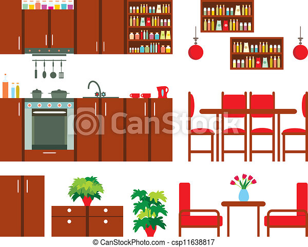 kitchen furniture clipart. set of kitchen furniture csp11638817 clipart r