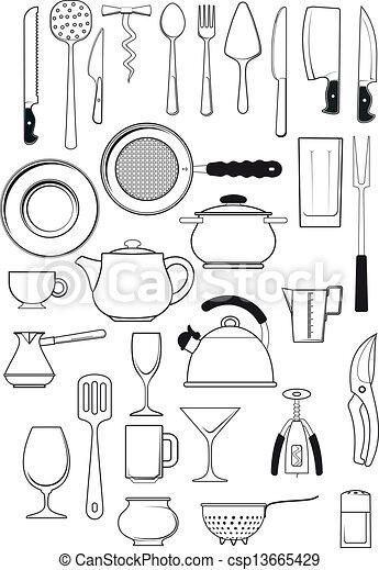 Set Of Kitchen Utensils Large Set Of Thirty Items On Kitchen Utensils