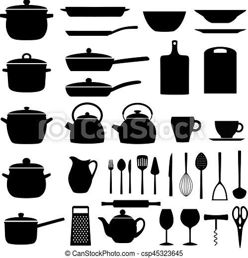 kitchen utensils silhouette vector free. Set Of Kitchen Utensils; Silhouettes Kitchenware, Vector Illustration Utensils Silhouette Free A