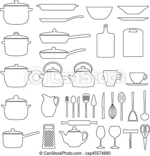 Set of kitchen utensils, vector illustration - csp45574680