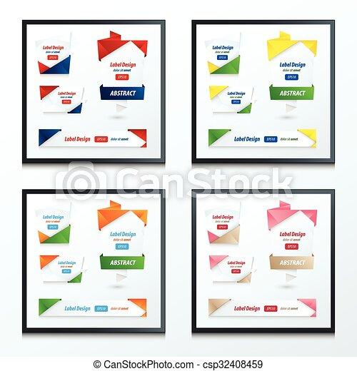 set of Label, Ribbon Origami Style - csp32408459