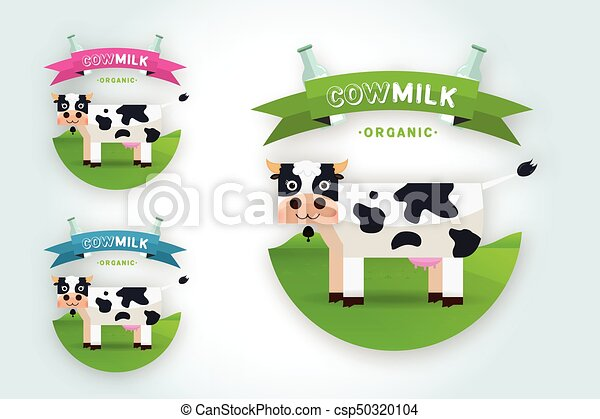 Set Of Labels And Icons For Milk Milk Elegant Vector Logo Template
