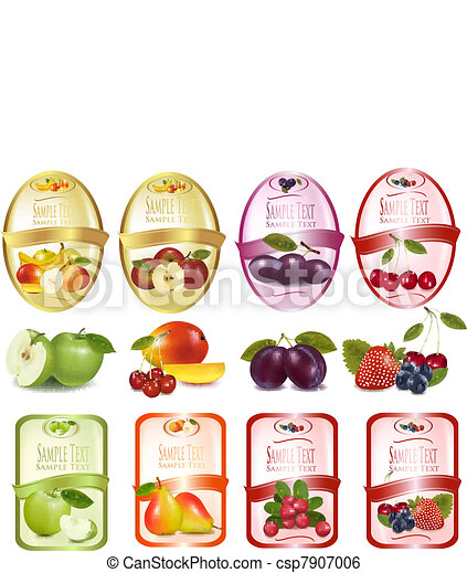 Set of labels with fruit - csp7907006