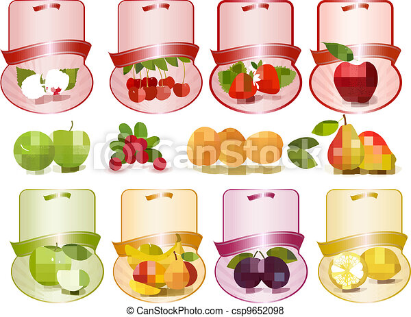 Set of labels with fruit - csp9652098