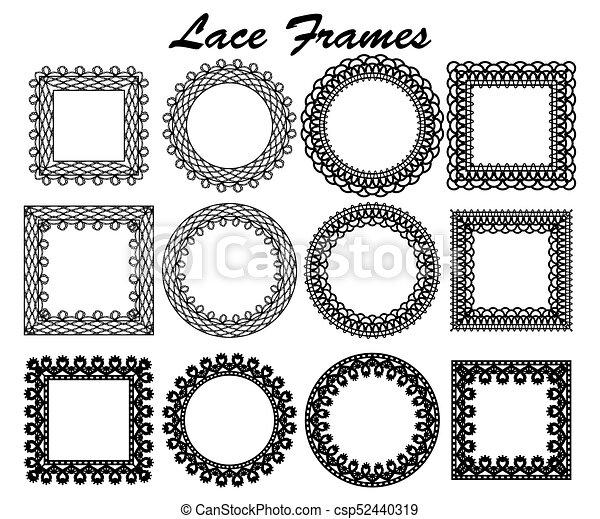 Set of lace frames of different shapes. black vintage elements ...