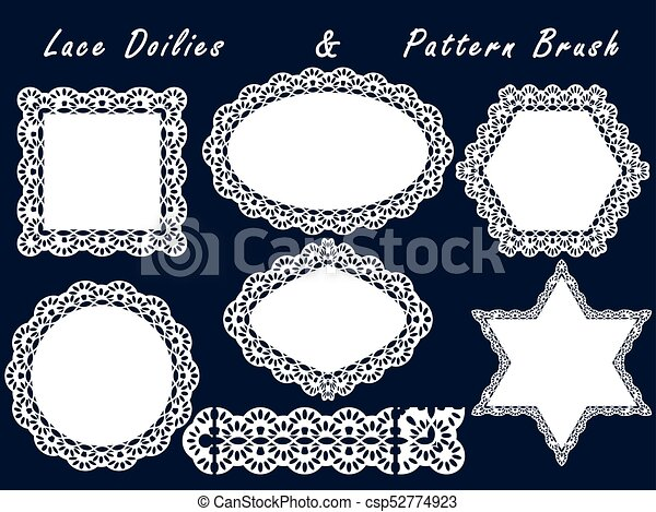 Set of lace napkins and pattern brush. for scrapbook, templates ...
