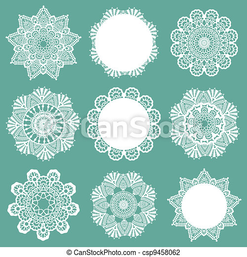 Set of Lace Napkins - for design and scrapbook - in vector - csp9458062