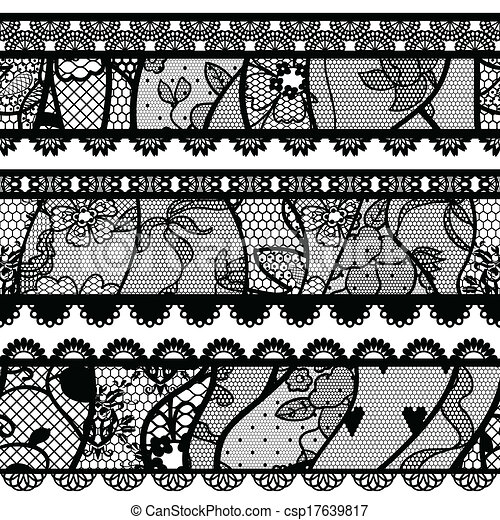 Set of lacy vintage trims. - csp17639817