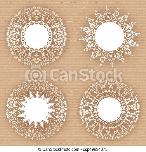 Set of lacy white frames on cardboard background - csp49634375