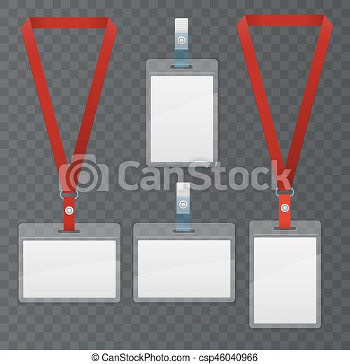 Set Of Lanyard And Badge Template Plastic Badge Identification Set