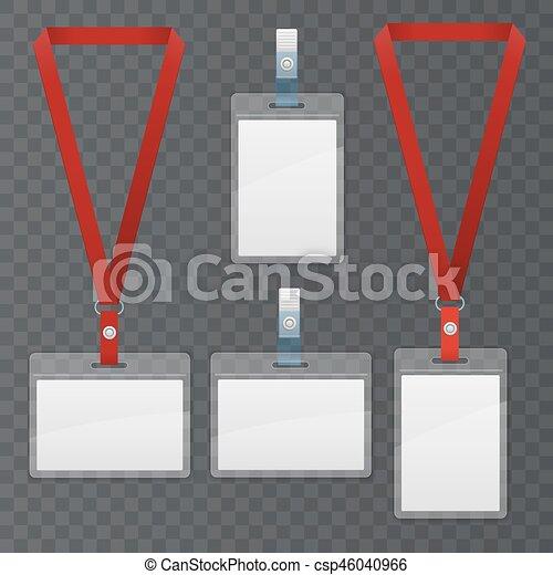 Set Of Lanyard And Badge Template Plastic Badge Identification Set
