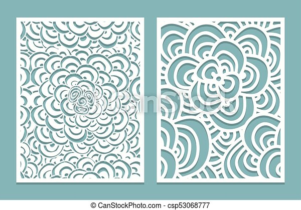 Set of laser cut pattern panel templates. wood or paper screen lazer ...