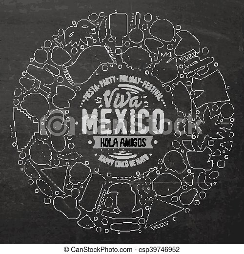 Set Of Latin American Cartoon Doodle Objects Symbols And Items