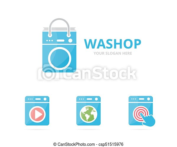 set of laundry logo combination washing machine and shop symbol or icon unique washer and sale logotype design template can stock photo