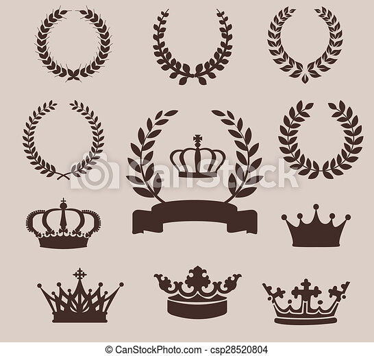 Set of laurel wreaths and crowns. Vintage emblem - csp28520804