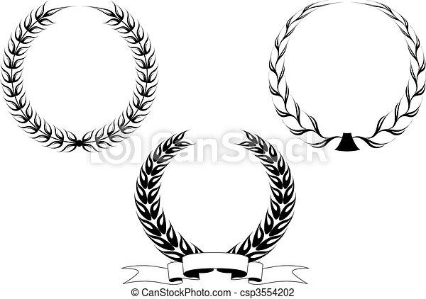 Set of laurel wreaths - csp3554202