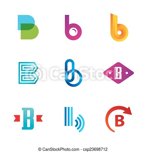 Set of letter b logo icons design template elements.... vector clip ...