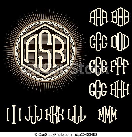 set of letters for decoration stylish retro monogram - csp30403493