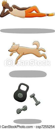 Set of levitating guy, dog and dumbbells - csp72552541