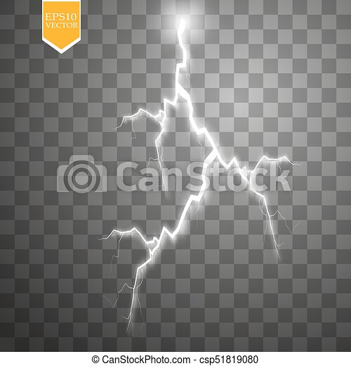 Set of lightnings. Thunder-storm and lightnings. Magic and bright lighting effects. - csp51819080