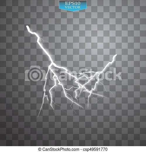 Set of lightnings. Thunder-storm and lightnings. Magic and bright lighting effects. - csp49591770
