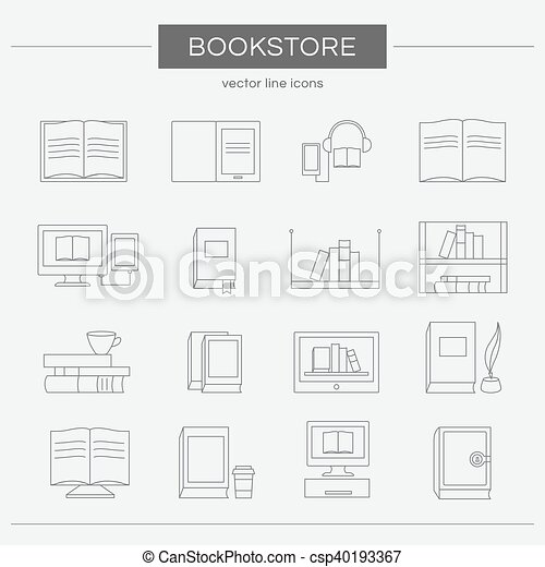 Set of line icons for a bookstore. - csp40193367