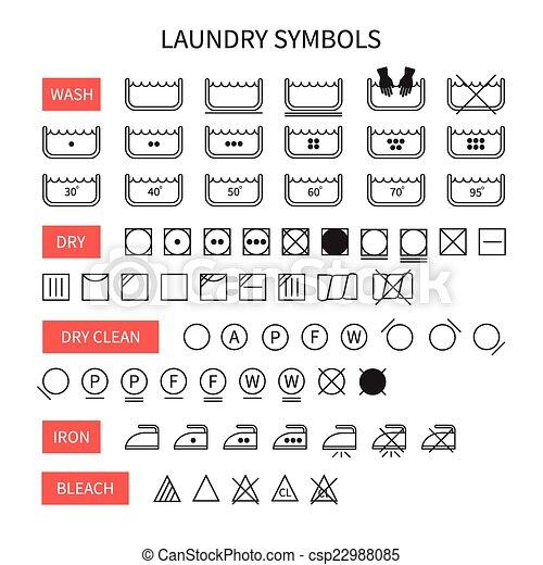 Set Of Line Simple Washing Instruction Symbols Undry Icons In