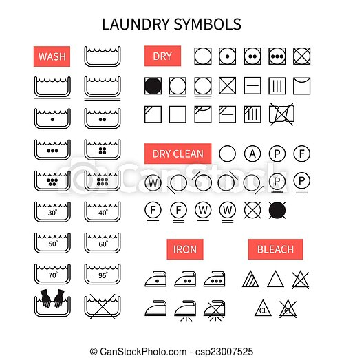 Set Of Line Simple Washing Instruction Symbols Undry Icons In