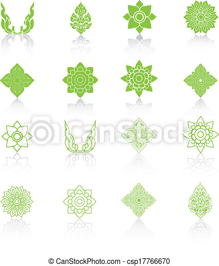 Set of Line Thai Art, Icons Vector Illustration. - csp17766670