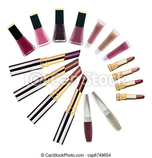 Set of lipsticks and nail polishes - csp6749654