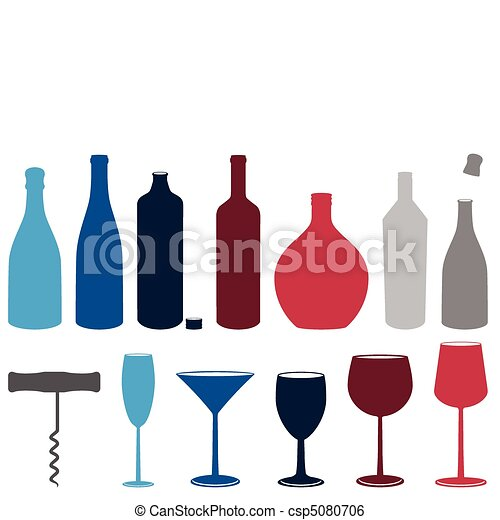 Set of liquor bottles & glasses. - csp5080706
