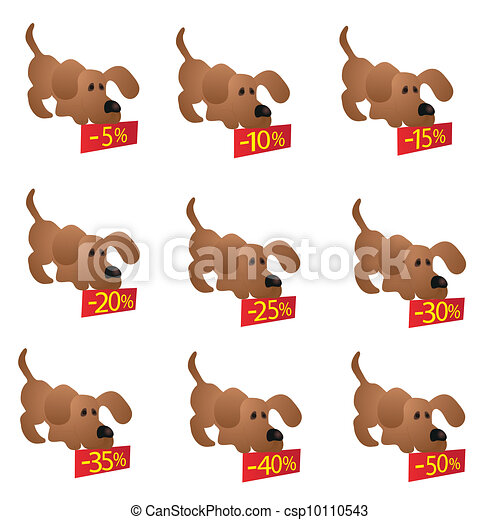 Set of little funny Dogs with disco - csp10110543