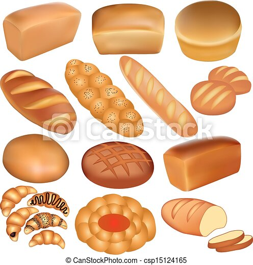 set of loaves of bread and a white - csp15124165