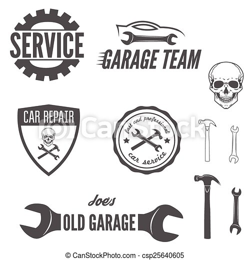 Set of logo, badge, emblem and logotype element for mechanic, garage, car repair and auto service - csp25640605