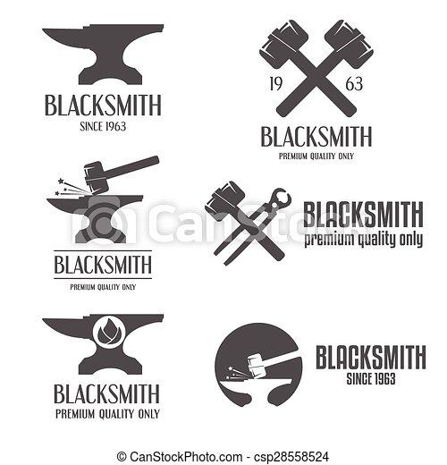 Set of logo, badge, label, emblem and logotype elements for blacksmith - csp28558524