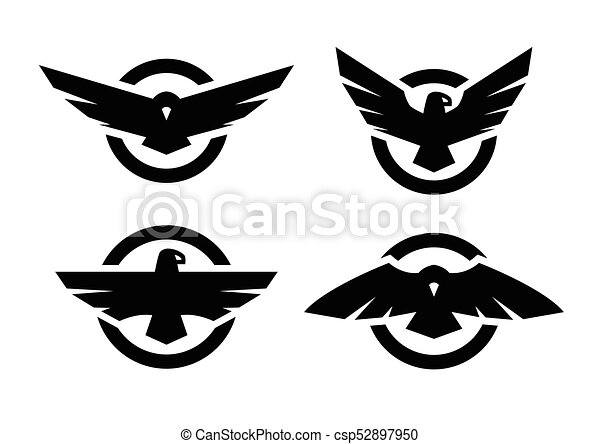 Set of logos with an eagle silhouette. - csp52897950