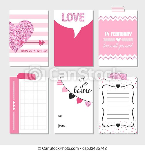 Set of Love Cards with Pink Glitter - Wedding, Valentine's Day, Invitation - in vector  - csp33435742