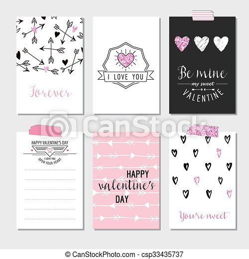 Set of Love Cards with Pink Glitter - Wedding, Valentine's Day, Invitation - in vector  - csp33435737