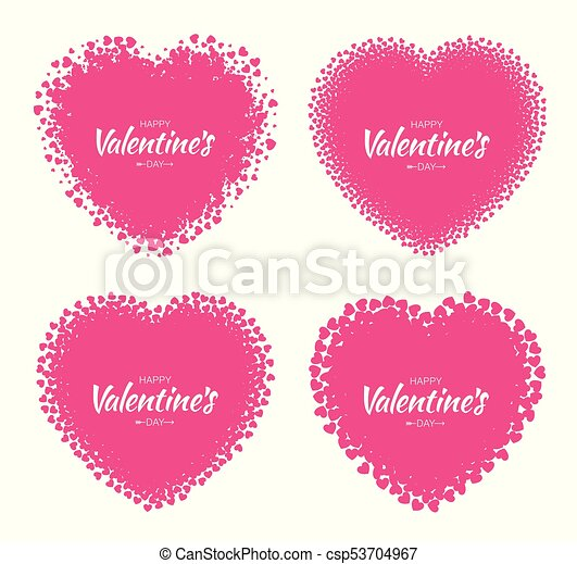 Set of love heart silhouette frames from pink hearts pattern ...