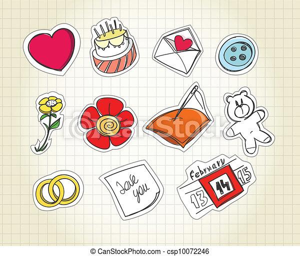 Set of love symbols on paper - csp10072246