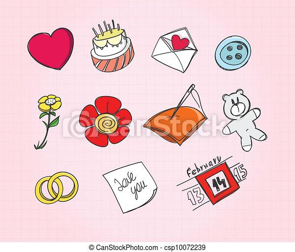 Set of love symbols on paper - csp10072239
