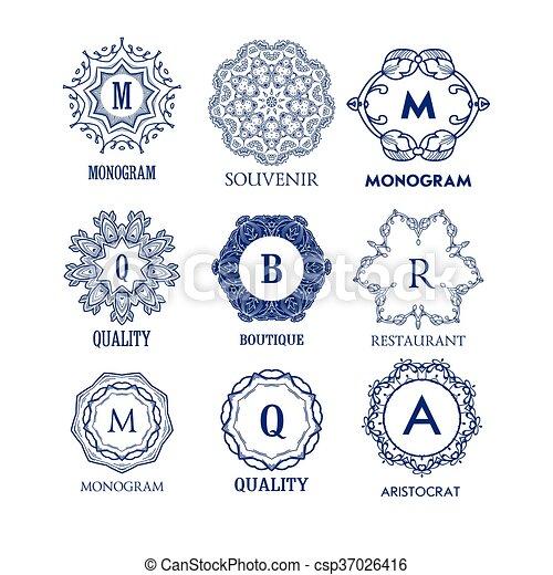 set of luxury simple and elegant blue monogram design templates