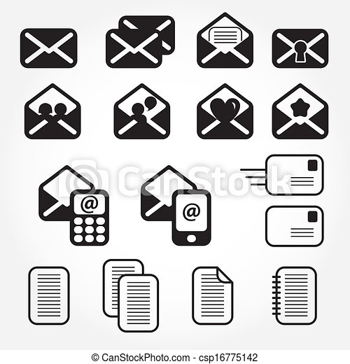 set of mail icons vector - csp16775142