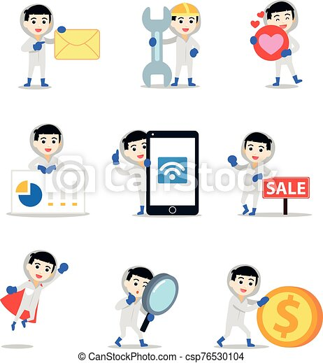 Set Of Male Character In A Forensic Scientist Vector Illustration With Coin Envelope Love Heart Mobile
