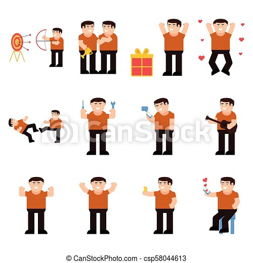 Set of male characters - csp58044613