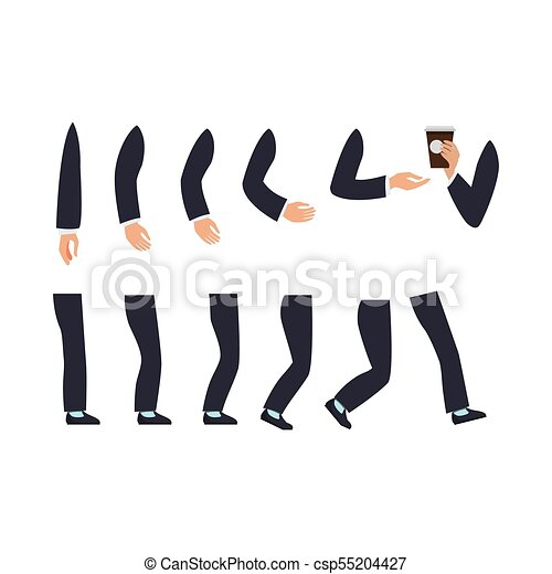 Set of Male Hands and Legs Vector Illustration - csp55204427