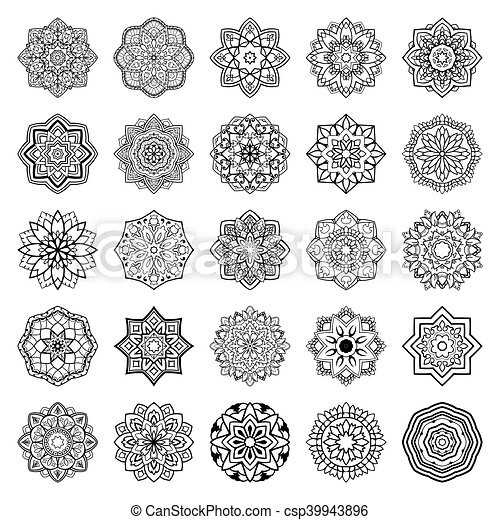 set of mandalas collection of stylized vector ornaments template