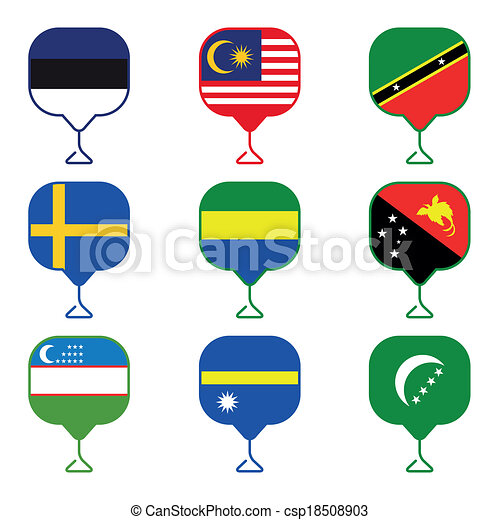 Set of Map flag icon, Vector - csp18508903