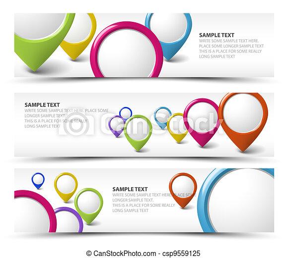 Set of map locator horizontal banners - csp9559125